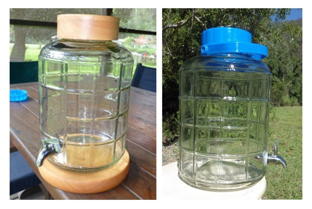 Mineral water direct glass jars.
